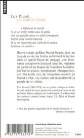Les cantos pisans - 4ème de couverture - Format classique