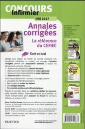 Annales corrigées ; concours infirmier ; annales corrigées ; IFSI 2017 (17e édition) - 4ème de couverture - Format classique