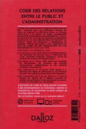 Code des relations entre le public et l'administration, annoté et commenté (édition 2021) - 4ème de couverture - Format classique