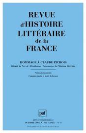 REVUE D'HISTOIRE LITTERAIRE DE LA FRANCE N.2005/4 ; hommage à Claude Pichois (édition 2005) - Intérieur - Format classique
