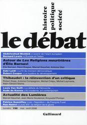 Revue Le Débat N.150 ; mai-août 2008 - Intérieur - Format classique