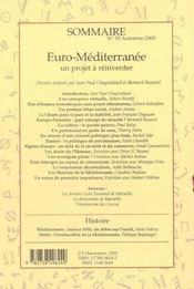 Confluences Mediterranee ; Euro-Mediterranee ; Un Projet A Reinventer - 4ème de couverture - Format classique
