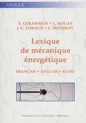 Lexique de mécanique énergetique ; français/anglais/russe - Couverture - Format classique
