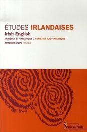 Revue Etudes Irlandaises N.31.2 ; Irish English ; Variétés Et Variations - Intérieur - Format classique