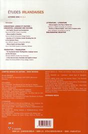 Revue Etudes Irlandaises N.31.2 ; Irish English ; Variétés Et Variations - 4ème de couverture - Format classique
