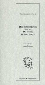 Des Domestiques ; Du Choix Des Lectures - Couverture - Format classique