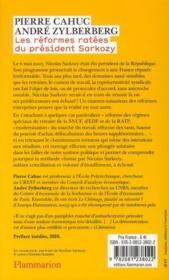 Les réformes ratées du président Sarkozy - 4ème de couverture - Format classique