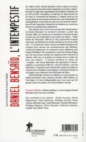 Daniel Bensaid ; l'intempestif - 4ème de couverture - Format classique