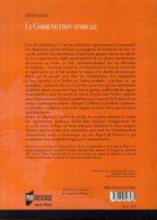 La communication syndicale - 4ème de couverture - Format classique