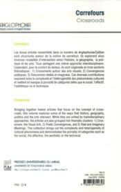 Revue Anglophonia N.33 ; Carrefours / Crossroads - 4ème de couverture - Format classique