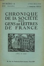 CHRONIQUE DE LA SOCIETE DES GENS DE LETTRES DE FRANCE N°2, 89e ANNEE ( 2e TRIMESTRE 1954) - Couverture - Format classique