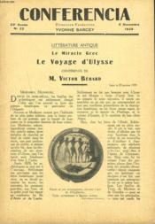 Conferencia N°22, 5 Novembre 1929. Litterature Antique. Le Miracle Grec. Le Voyage D'Ulysse Conference De M. Victor Berard. - Couverture - Format classique