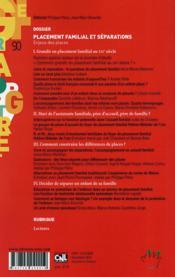 Revue de l'enfance et de l'adolescence ; rafef grape t.90 ; lacement familial et séparations : enjeux des places - 4ème de couverture - Format classique