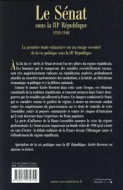 Le sénat sous la IIIe République - 4ème de couverture - Format classique