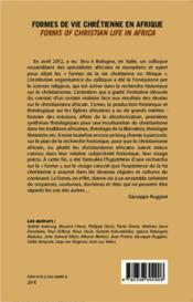 Formes de vie chrétienne en Afrique ; forms of christian life in africa - 4ème de couverture - Format classique