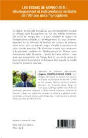 Les essais de mongo beti : développement et indépendance véritable de l'Afrique noire francophone ; esquisse d'analyse de contenu - 4ème de couverture - Format classique