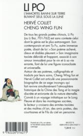 Li Po ; l'immortel banni sur terre buvant seul sous la lune - 4ème de couverture - Format classique