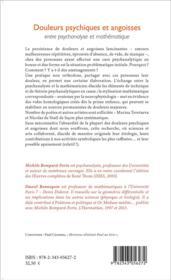 Douleurs psychiques et angoisses entre psychanalyse et mathematique - 4ème de couverture - Format classique