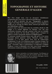 Topographie et histoire générale d'Alger - 4ème de couverture - Format classique