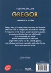 Gregor T.2 ; Gregor t.2 ; la prophétie du fléau - 4ème de couverture - Format classique
