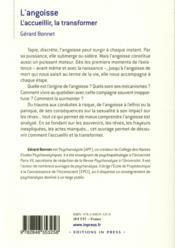 L'angoisse ; l'accueillir pour la surmonter - 4ème de couverture - Format classique