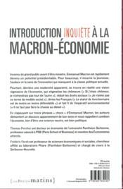 Introduction inquiète à la Macron-économie - 4ème de couverture - Format classique