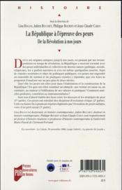 La République à l'épreuve des peurs ; de la Révolution à nos jours - 4ème de couverture - Format classique