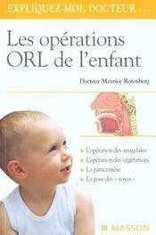 Les opérations ORL de l'enfant - Intérieur - Format classique