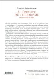 À l'épreuve du terrorisme ; les pouvoirs de l'Etat - 4ème de couverture - Format classique