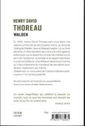 Walden ; nouvelle traduction de Jacques Mailhos - 4ème de couverture - Format classique