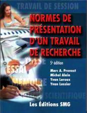 Normes de présentation d'un travail de recherche (5e édition) - Couverture - Format classique