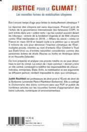 Justice pour le climat ! ; les nouvelles formes de mobilisation citoyenne - 4ème de couverture - Format classique