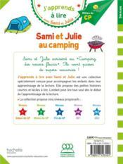 J'apprends à lire avec Sami et Julie ; Sami et Julie au camping - 4ème de couverture - Format classique
