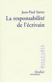 La responsabilité de l'écrivain - Couverture - Format classique