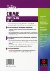 Chimie ; MP, PT ; tout-en-un - 4ème de couverture - Format classique