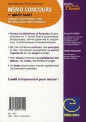 Mémo concours 1ère année santé ; physique/biophysique/chimie/biochimie/mathématiques/biostatistiques (2e édition) - 4ème de couverture - Format classique