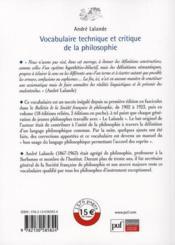 Vocabulaire technique et critique de la philosophie - 4ème de couverture - Format classique