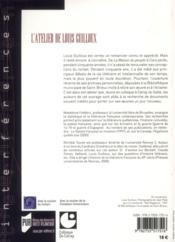 L'atelier de Louis Guilloux - 4ème de couverture - Format classique