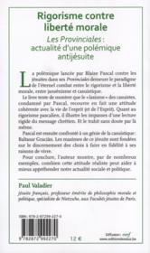 Rigorisme Contre Liberte Morale. Les Provinciales De Pascal Actualites D'Une Polemique Anti-Jesuite - 4ème de couverture - Format classique