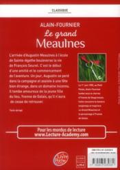 Le grand Meaulnes - 4ème de couverture - Format classique