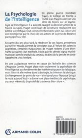 La psychologie de l'intelligence - 4ème de couverture - Format classique