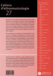 CAHIERS D'ETHNOMUSICOLOGIE N.27 ; festivalisation(s) - 4ème de couverture - Format classique