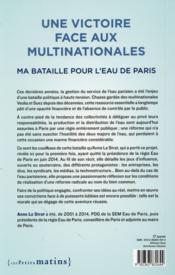 Une victoire face aux multinationales ; ma bataille pour l'eau de Paris - 4ème de couverture - Format classique