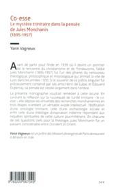 Co-esse ; le mystère trinitaire dans la pensée de Jules Montchanin - 4ème de couverture - Format classique