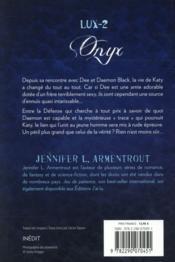 Lux t.2 ; onyx - 4ème de couverture - Format classique