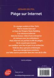 Piège sur internet - 4ème de couverture - Format classique
