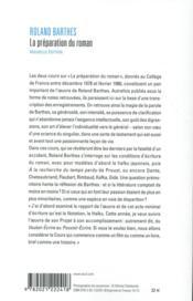 La préparation du roman ; cours au Collège de France (1978-1979 et 1979-1980) - 4ème de couverture - Format classique