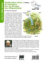 Randonnées autour de Chambéry lac du Bourget lac d'Aiguebelette - 4ème de couverture - Format classique