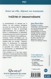 Théâtre et dramathérapie - 4ème de couverture - Format classique