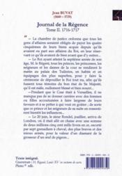 Journal de la Régence t.2 ; 1716-1717 : le bon état de sa majesté - 4ème de couverture - Format classique